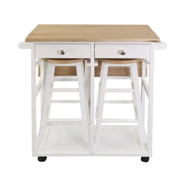 Casual Home White Wood 3pc Breakfast Cart Table CHOM-355-41