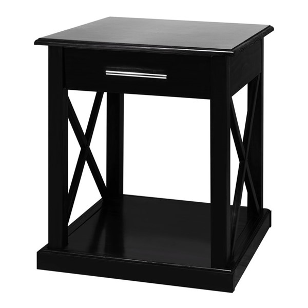 Casual Home Bay View Black Solid Wood End Table CHOM-363-12