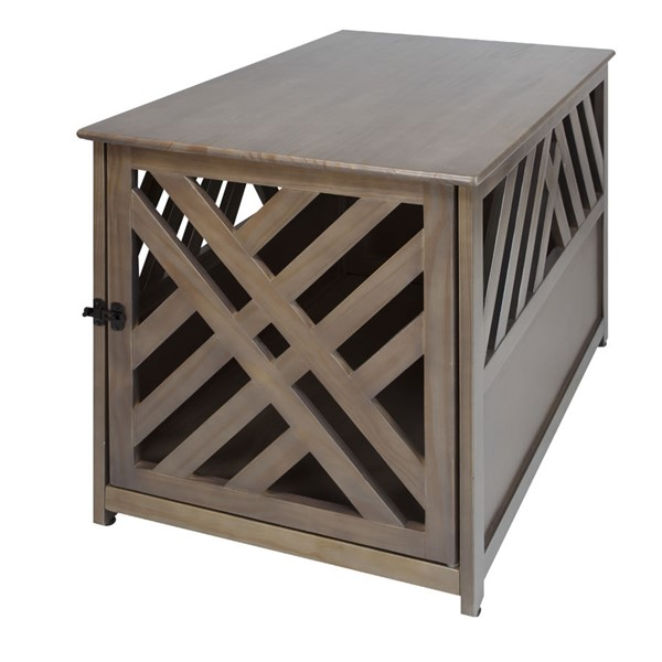 Casual Home Lattice Taupe Gray Pet Crate End Table CHOM-602-218