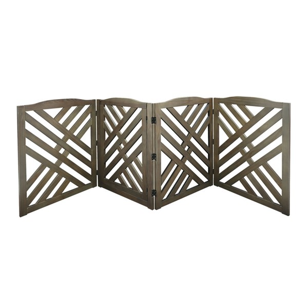 Casual Home Lattice Taupe Gray Solid Wood Pet Gate CHOM-602-518