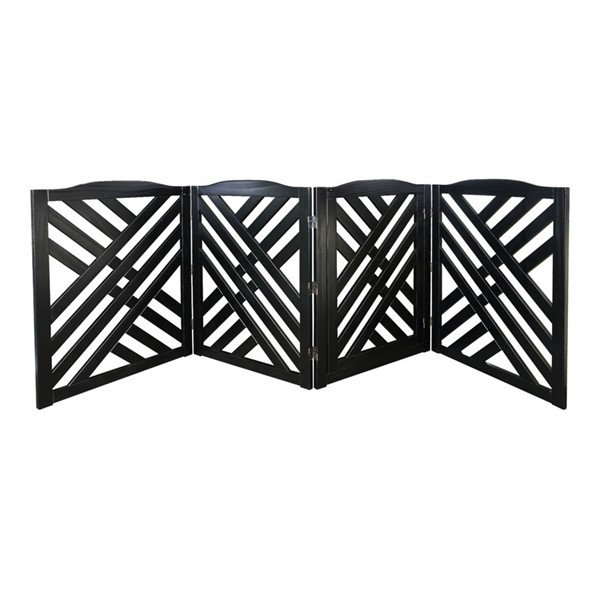 Casual Home Lattice Black Solid Wood Pet Gate CHOM-602-52