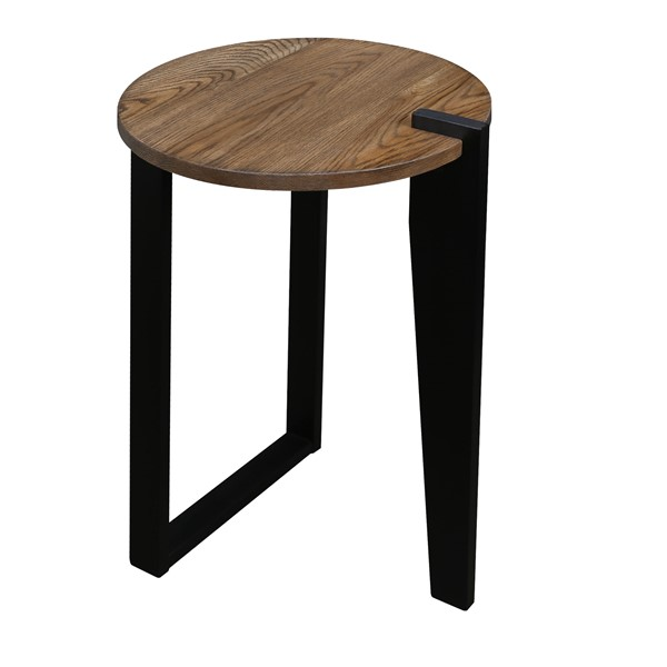 Casual Home Sundial Forest Gray Black Round End Table CHOM-604-423