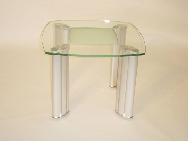 Tracy Brushed Silver Glass Metal End Table CHF-TRACY-LT-TB