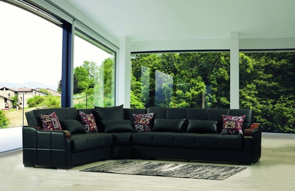 Casamode Midtown Black PU Sectional CMD-MIDTOWN-BLACK-PU-SECTIONAL