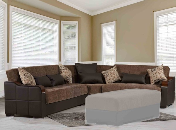 Casamode Midtown Brown Fabric Sectional CMD-MIDTOWN-BROWN-SECTIONAL