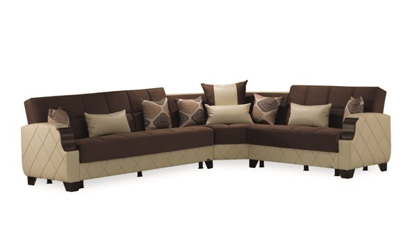 Casamode Molina Dark Brown Cream Sectional CMD-MOLINA-DARK-BROWN-CREAM-SECTIONAL