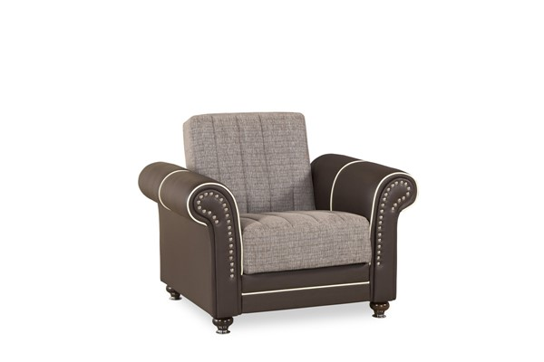 Casamode Royal Home Quantro Brown Arm Chair and Ottoman Set CMD-ROYAL-HOME-QUANTRO-BROWN-CHO-S1
