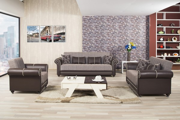 Casamode Royal Home Quantro Brown 3pc Living Room Set CMD-ROYAL-HOME-QUANTRO-BROWN-LR-S1