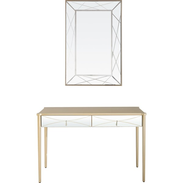 Camden Isle Insley Champagne Wall Mirror and Console CMDN-86425