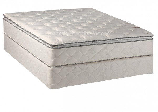 Sunset White Pillowtop Plush Single Sided Queen Mattress And Box M301-6