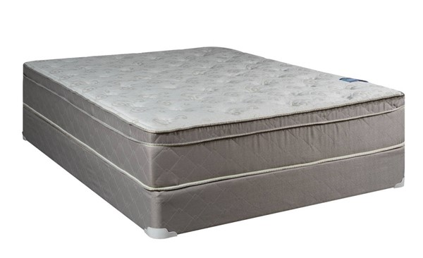 Milano Foam Encased Gray White Eurotop Plush Queen Mattress And Box M446-6
