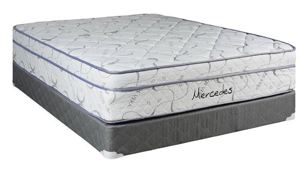 Mercedes  White Gray Eurotop Plush Single Sided Twin Mattress & Box M940-2