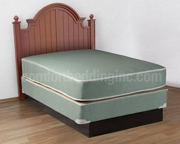 Vinyl Plastercised Green Tight Top Double Sided Twin Mattress And Box M102-2