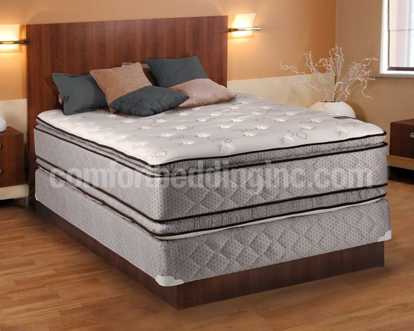 Comfort Bedding Hollywood Pillow Top Medium Plush Double Sided King Mattress and Box M312-8