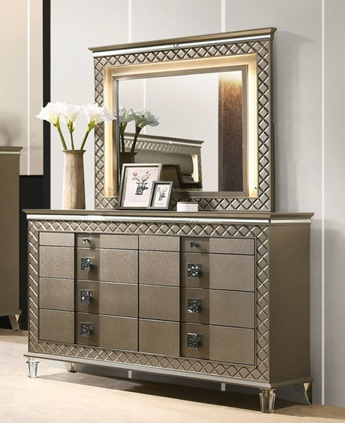 Cosmos Furniture Coral Gold Dresser And Mirror CMS-CORAL-DRMR