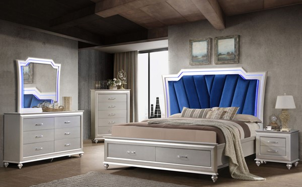 Cosmos Furniture Alia Silver 6pc Bedroom Set with Beds CMS-ALIA-BED-S-VAR