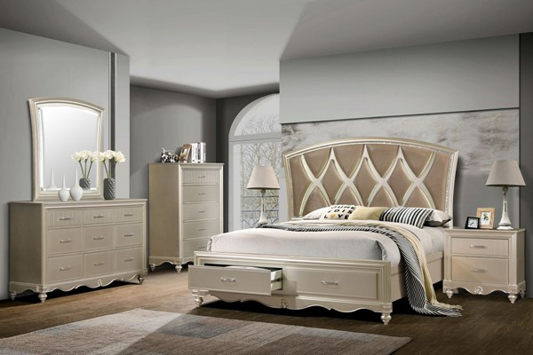 Cosmos Furniture Faisal Champagne 6pc Bedroom Set with Beds CMS-FAISAL-QBED-S-VAR