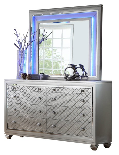 Cosmos Furniture Shiney Silver Dresser and Mirror CMS-SHINEY-DRMR