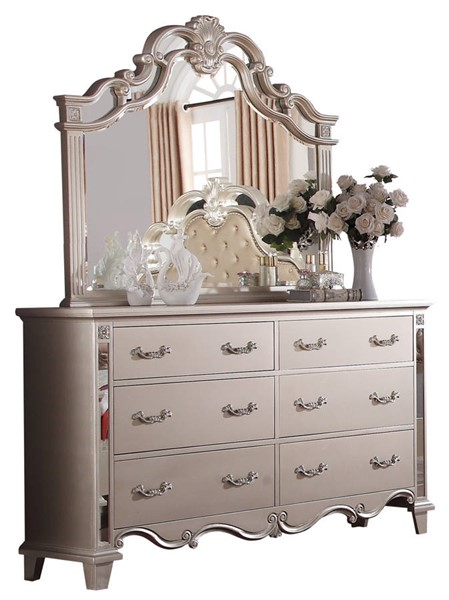 Cosmos Furniture Sonia Pewter Dresser and Mirror CMS-SONIA-DRMR