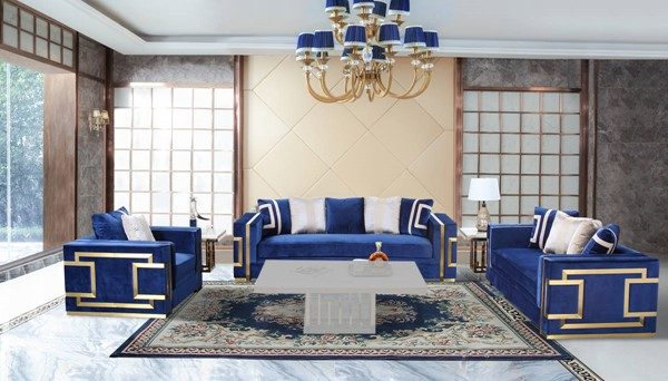 Cosmos Furniture Lawrence Navy Blue 3pc Living Room Set CMS-LAWRENCE-LR-S1