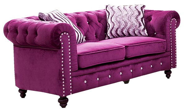 Cosmos Furniture Camila Purple Loveseat CMS-Camila-Loveseat