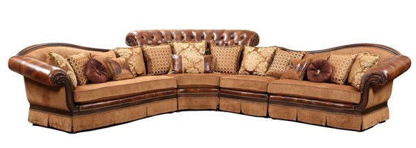 Cosmos Furniture Linda Cherry Leather Sofa Sectional CMS-LINDA-SECTIONALSOFA