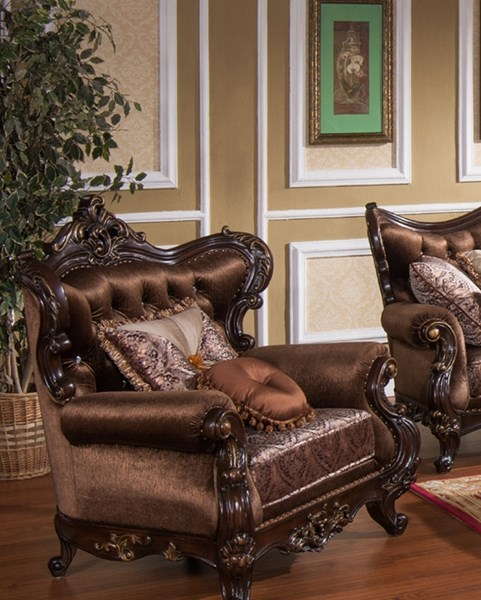 Aroma Brown Gold Wood Fabric Chair CMS-AROMA-CH