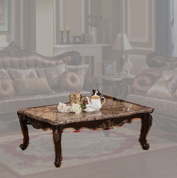 Aroma Brown Gold Wood Marble Top Coffee Table CMS-AROMA-CT