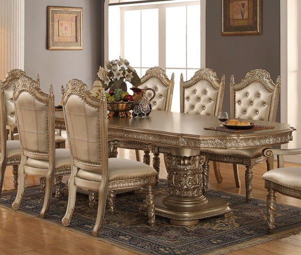 Bethany Rich Gold Wood Pedestal Dining Table The Classy Home