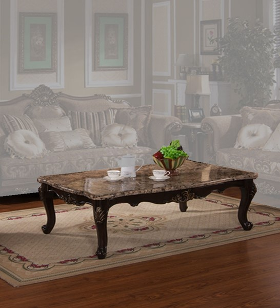 Cecilia Classic Brown Wood Marble Top Coffee Table CMS-CECILIA-CT