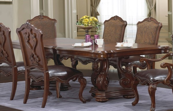 Cosmos Furniture Valentino Brown Wood Double Pedestal Dining Table CMS-VALENTINO-DT