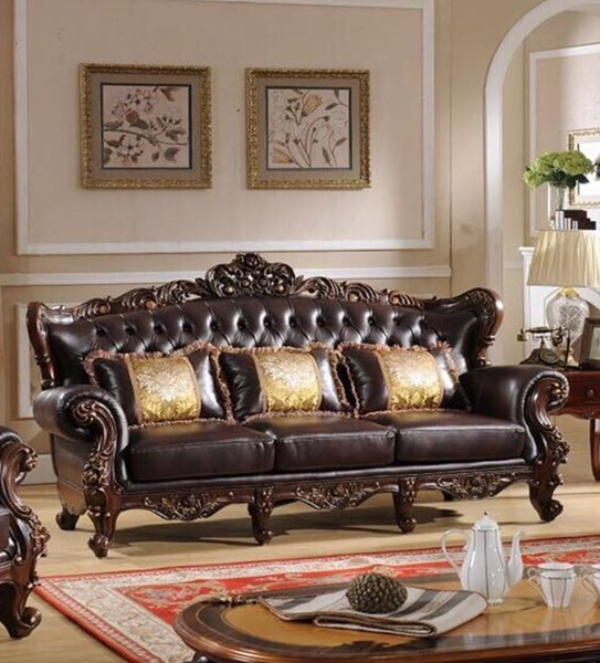 Vanessa Classic Dark Brown Wood Sofa CMS-VANESSA-SF
