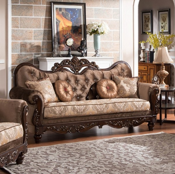 Zoya Classic Dark Brown Gold Wood Fabric Sofa CMS-ZOYA-SF
