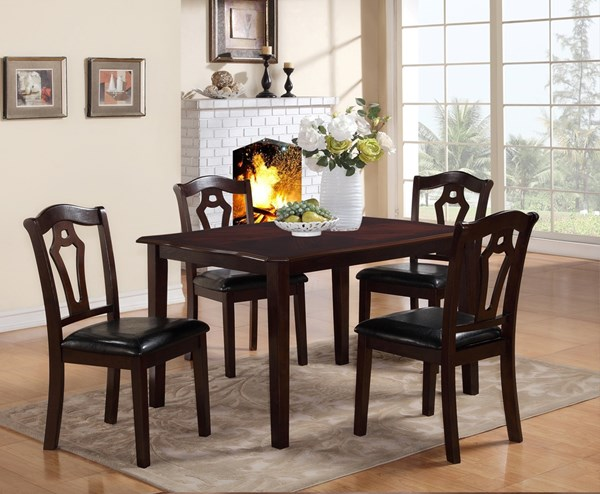 Bell Black Dark Brown Wood 5pc Dining Room Set CMS-BELL-DR-SET