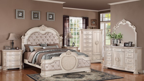 infinity antique 2pc bedroom set w king bed the classy home 14020 | cms infinity antique 1457601633 a