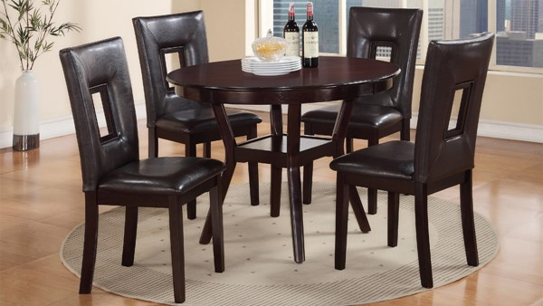 Poppy Dark Brown Black Wood 5pc Dining Room Set CMS-POPPY-DR-SET