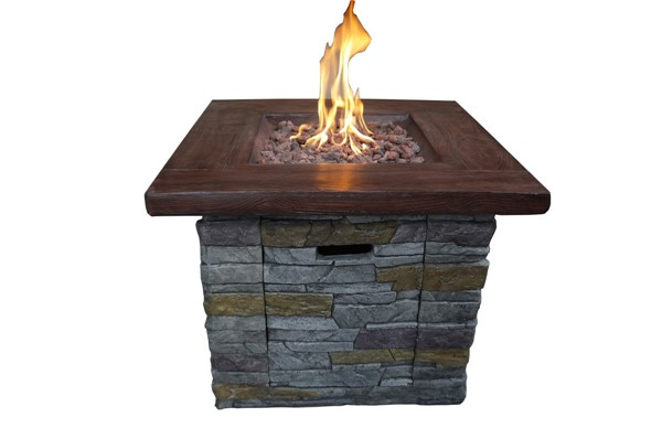 Crawford and Burke Nusa Gray Vesuvius Brick Gas Outdoor Fire Pit CNB-090221FP
