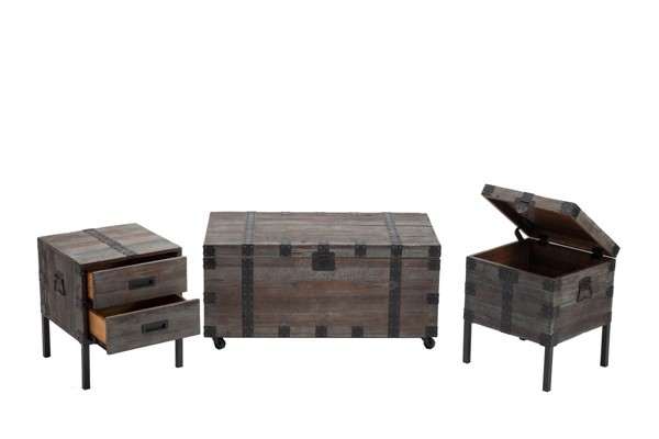 Crawford and Burke Brixton Antique Gray 3pc Coffee Table Set CNB-10320T3