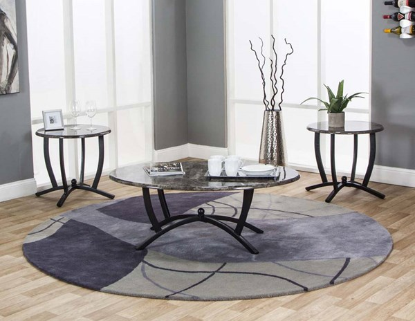 Cramco Electra Ebony Faux Marble Steel 3pc Occasional Table Set CRM-Y2130-90