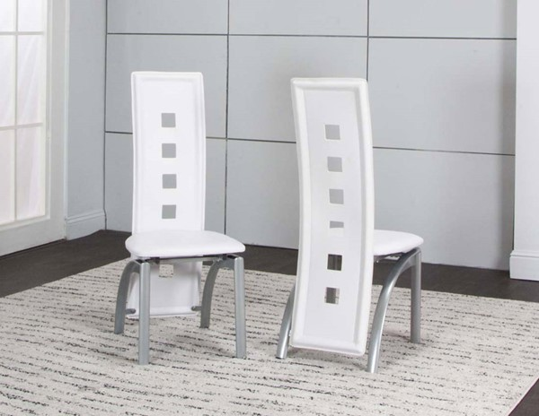 2 Cramco Valencia White Vinyl Platinum Steel Side Chairs CRM-92780-03