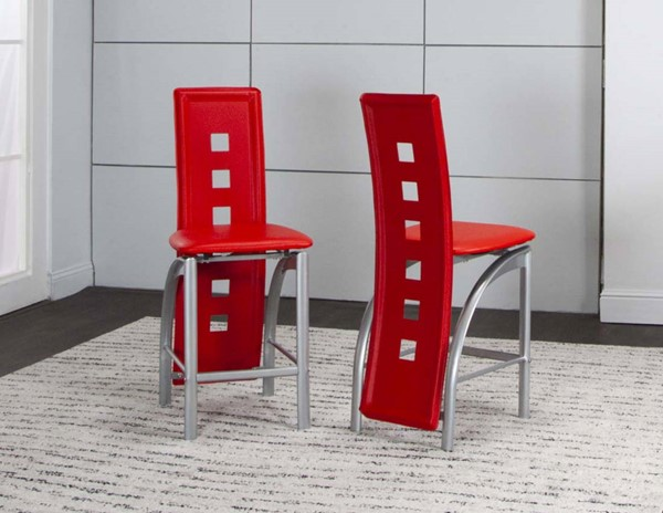 2 Cramco Valencia Red Vinyl Platinum Steel 24 Inch Counter Height Stools CRM-92780-26