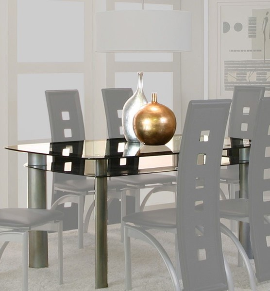 Cramco Valencia Black Glass Platinum Steel Double Dining Table CRM-92780-41-47