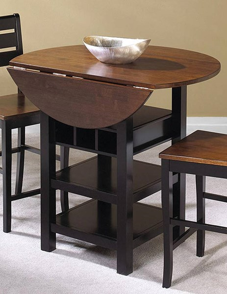 Cramco Quincy Mahogany Black Hardwood Veneer Round Drop Leaf Counter Height Table CRM-A7572-68