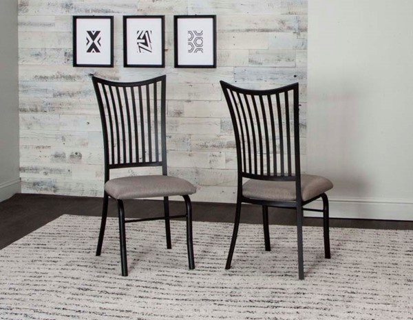 2 Cramco Anna Dove Fabric Black Metal Side Chairs CRM-D8014-01