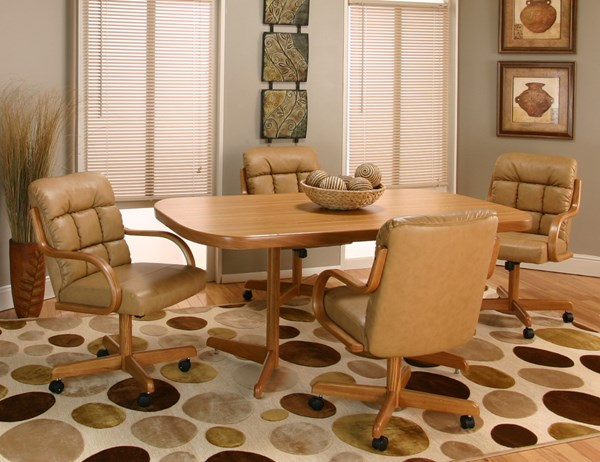 Atwood Rustic Oak Hardwood Buff Bonded Leather 5pc Dining Room Set CRM-D8030-RO-545