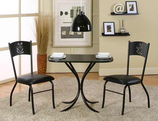 Cramco Cameo Black Laminate Vinyl 3pc Bistro Set CRM-D8059-65