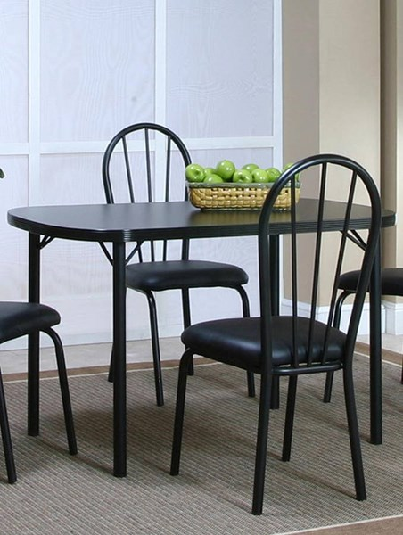 Cramco Ebony Black Laminate Metal Bow End 48 Inch Dining Table CRM-D8121-56