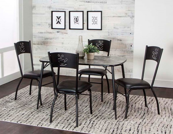 Cramco Nero Black Vinyl Magna Laminate 5pc Dining Room Set CRM-D8482-548