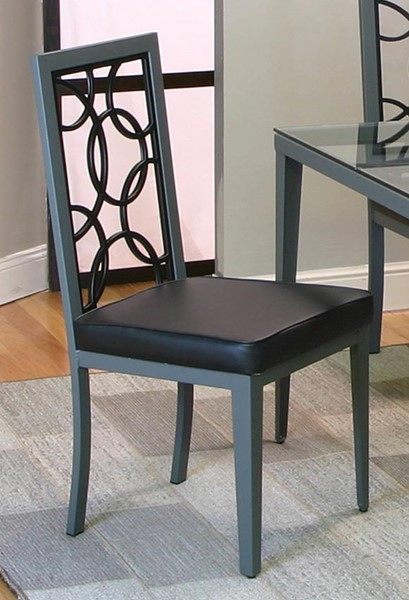 2 Cramco Odessa Black Polyurethane Stainless Steel Side Chairs CRM-D8507-01
