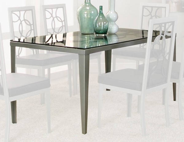 Cramco Odessa Black Glass Stainless Steel Rectangular Dining Table CRM-D8507-42-50